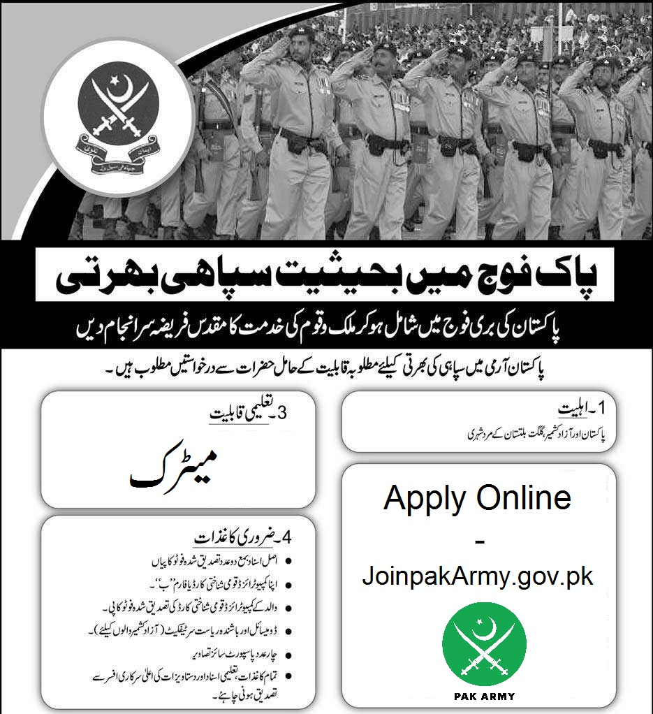 Join Pak Army after Matric Male/Female Process Online Registration 2018