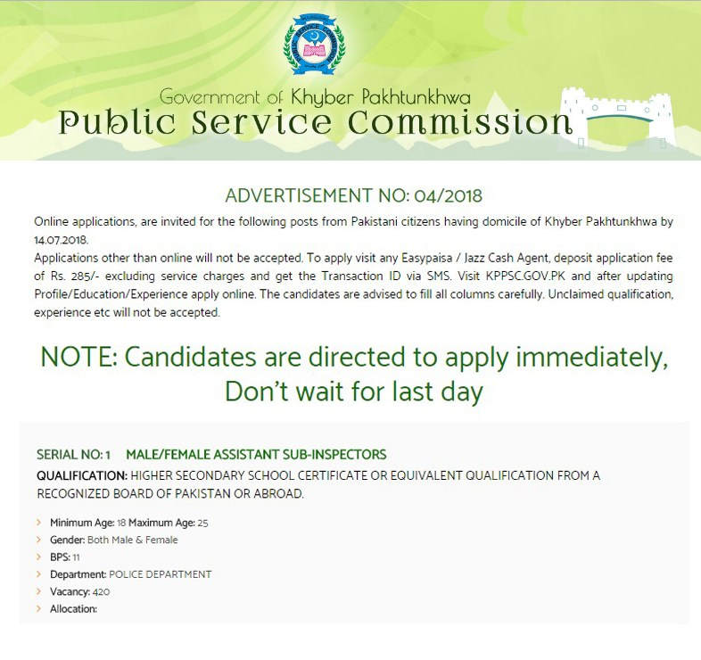 KPPSC ASI Jobs 2018 Eligibility Criteria Apply Online