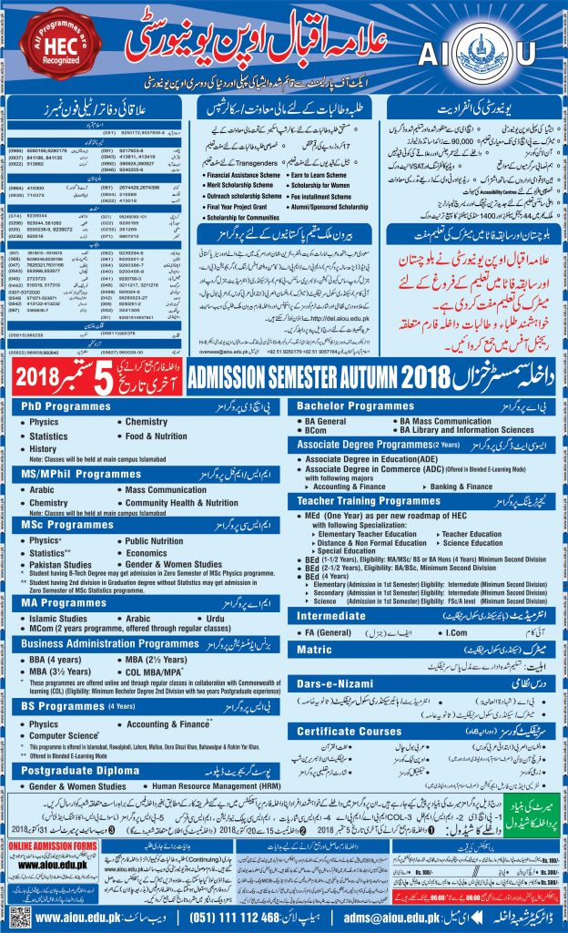 Allama Iqbal Open University Islamabad AIOU Admission
