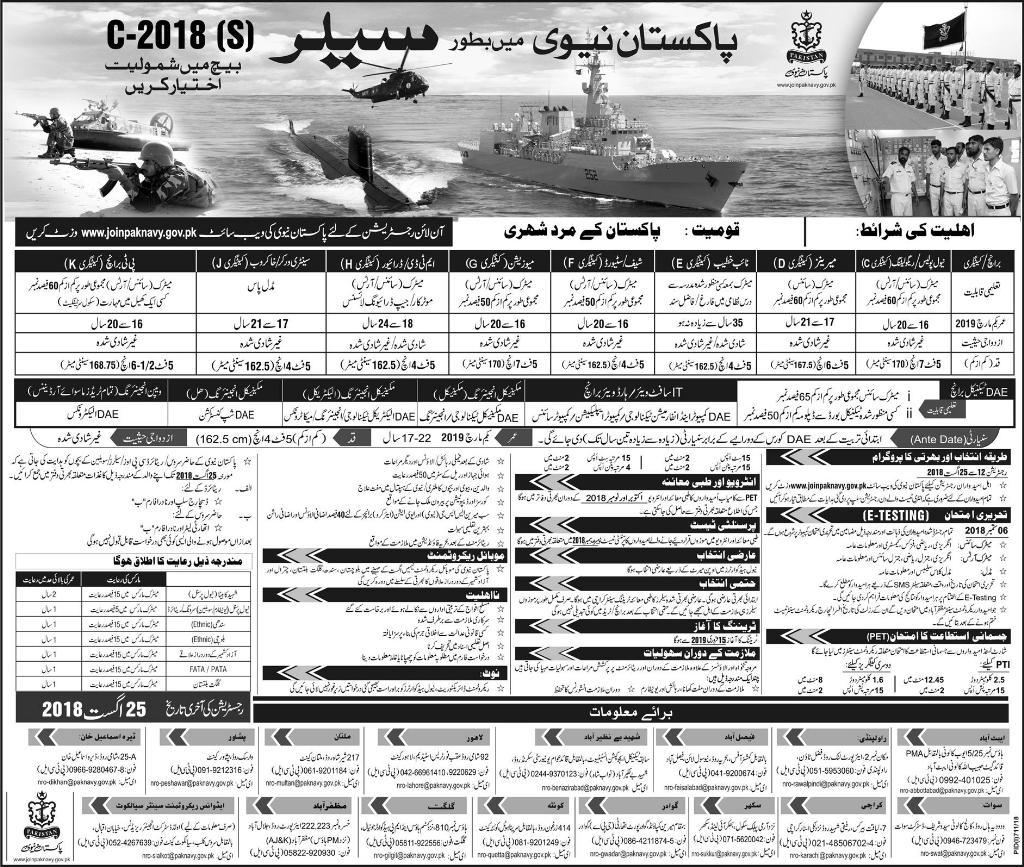 Join Pak Navy as Civilian Jobs 2021 Batch A-2019 Registration Online