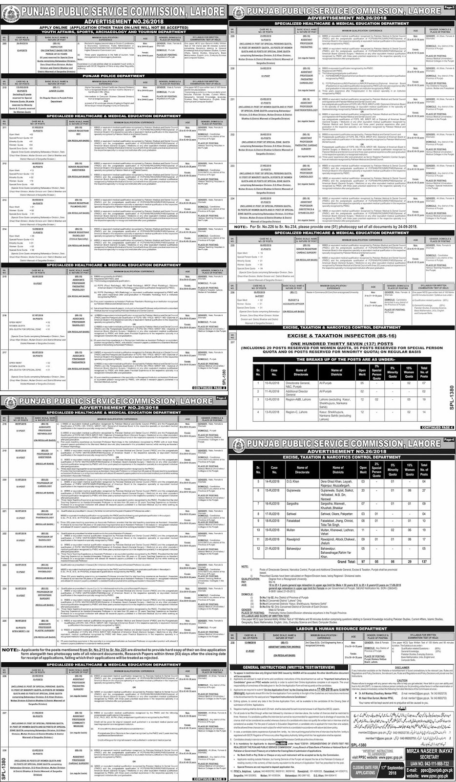 PPSC Jobs Advertisement No 26/2018 Application Form Apply Last Date