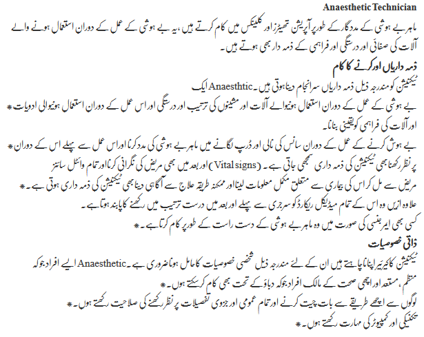 Anesthesia Technician Career Opportunities in Pakistan