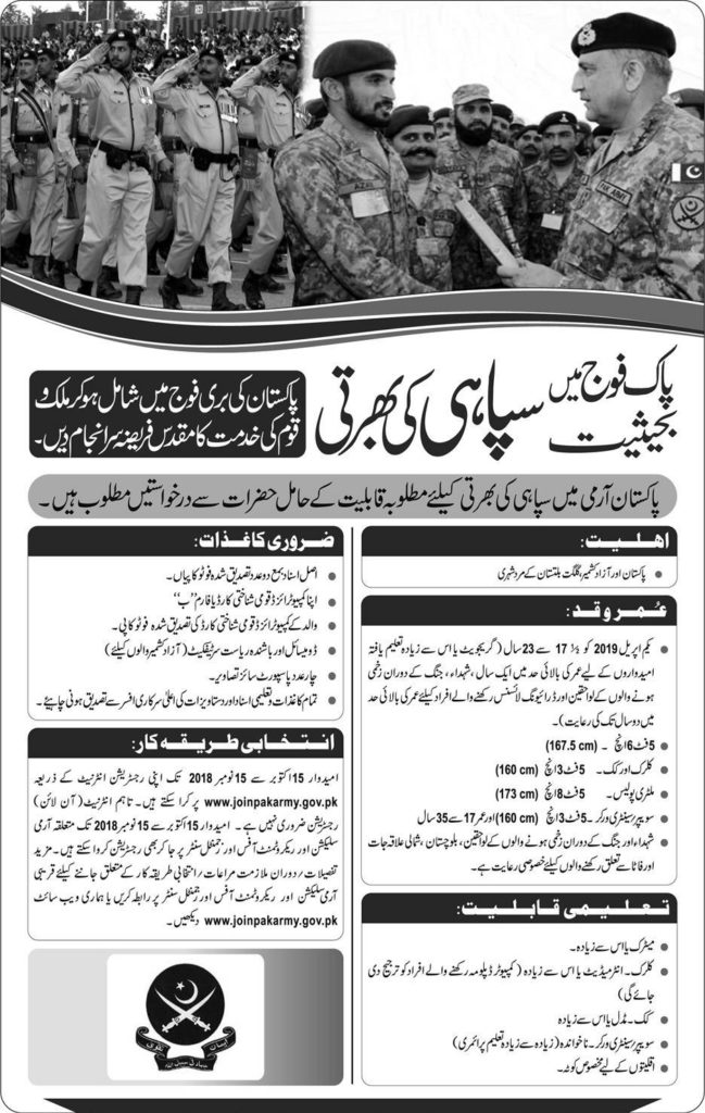 Join Pak Army as Soldier 2018 Registration Online Last Date