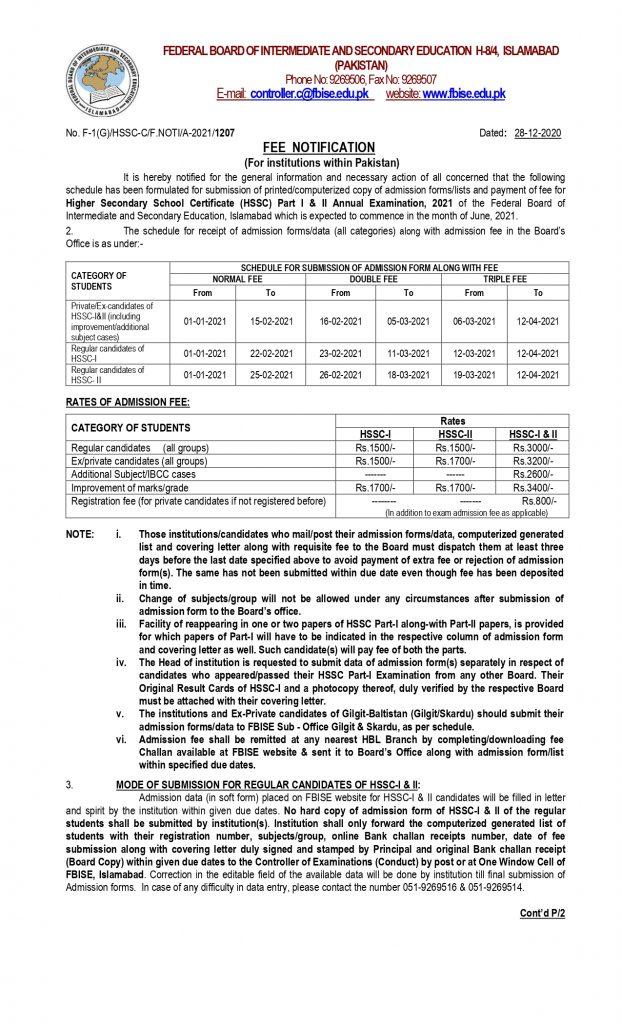FBISE Date sheet 2021